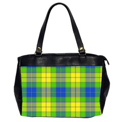 Spring Plaid Yellow Blue And Green Office Handbags (2 Sides)