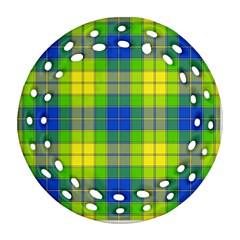 Spring Plaid Yellow Blue And Green Round Filigree Ornament (two Sides)