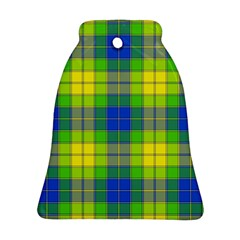 Spring Plaid Yellow Blue And Green Bell Ornament (two Sides)