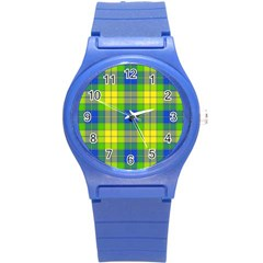 Spring Plaid Yellow Blue And Green Round Plastic Sport Watch (s)