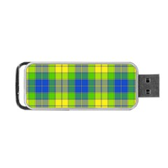 Spring Plaid Yellow Blue And Green Portable Usb Flash (one Side)