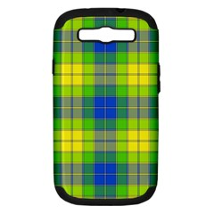 Spring Plaid Yellow Blue And Green Samsung Galaxy S Iii Hardshell Case (pc+silicone)