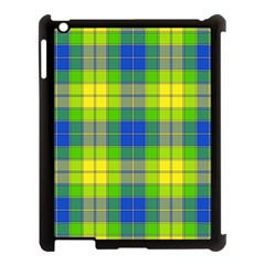 Spring Plaid Yellow Blue And Green Apple Ipad 3/4 Case (black)