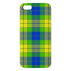 Spring Plaid Yellow Blue And Green Apple Iphone 5 Premium Hardshell Case