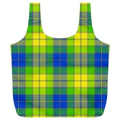 Spring Plaid Yellow Blue And Green Full Print Recycle Bags (l)