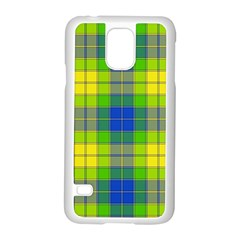 Spring Plaid Yellow Blue And Green Samsung Galaxy S5 Case (white)