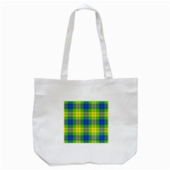 Spring Plaid Yellow Blue And Green Tote Bag (white)