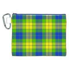 Spring Plaid Yellow Blue And Green Canvas Cosmetic Bag (xxl)