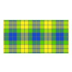Spring Plaid Yellow Blue And Green Satin Shawl