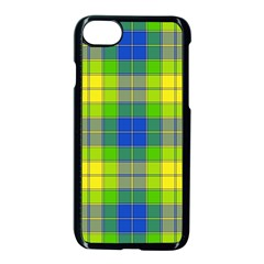 Spring Plaid Yellow Blue And Green Apple Iphone 8 Seamless Case (black)