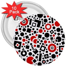 Square Objects Future Modern 3  Buttons (10 Pack)