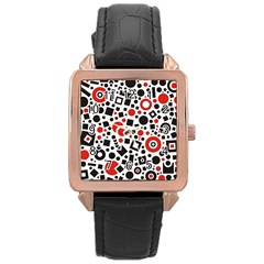 Square Objects Future Modern Rose Gold Leather Watch