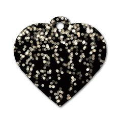 Christmas Bokeh Lights Background Dog Tag Heart (two Sides)