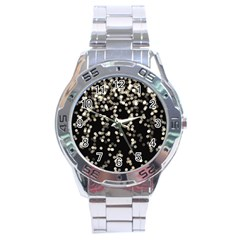 Christmas Bokeh Lights Background Stainless Steel Analogue Watch