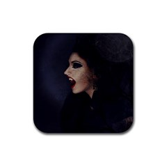 Vampire Woman Vampire Lady Rubber Square Coaster (4 Pack)