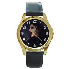 Vampire Woman Vampire Lady Round Gold Metal Watch
