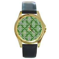St Patrick S Day Damask Vintage Round Gold Metal Watch