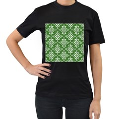 St Patrick S Day Damask Vintage Women s T Shirt (black) (two Sided)