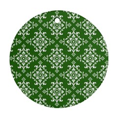 St Patrick S Day Damask Vintage Round Ornament (two Sides)