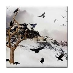 Birds Crows Black Ravens Wing Tile Coasters