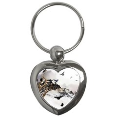Birds Crows Black Ravens Wing Key Chains (heart)