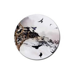 Birds Crows Black Ravens Wing Rubber Round Coaster (4 Pack)