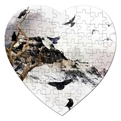 Birds Crows Black Ravens Wing Jigsaw Puzzle (heart)