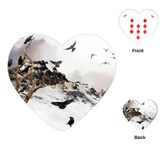Birds Crows Black Ravens Wing Playing Cards (heart)