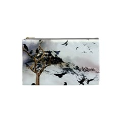 Birds Crows Black Ravens Wing Cosmetic Bag (small)