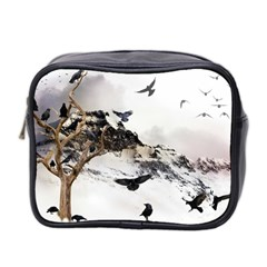 Birds Crows Black Ravens Wing Mini Toiletries Bag 2 Side