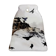 Birds Crows Black Ravens Wing Bell Ornament (two Sides)