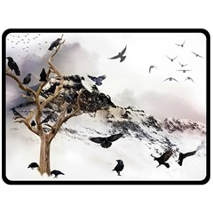 Birds Crows Black Ravens Wing Double Sided Fleece Blanket (large)