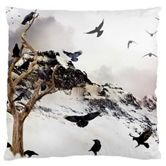 Birds Crows Black Ravens Wing Large Flano Cushion Case (one Side)