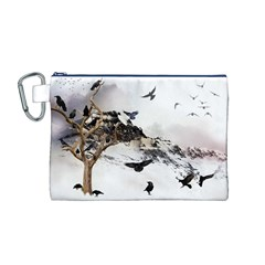 Birds Crows Black Ravens Wing Canvas Cosmetic Bag (m)