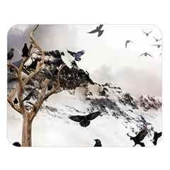 Birds Crows Black Ravens Wing Double Sided Flano Blanket (large)