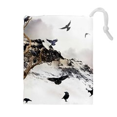 Birds Crows Black Ravens Wing Drawstring Pouches (extra Large)