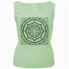 Mandala Pattern Floral Women s Green Tank Top