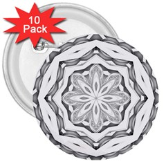 Mandala Pattern Floral 3  Buttons (10 Pack)