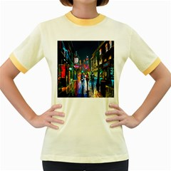 Abstract Vibrant Colour Cityscape Women s Fitted Ringer T Shirts