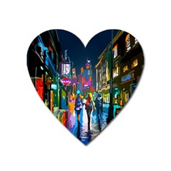 Abstract Vibrant Colour Cityscape Heart Magnet
