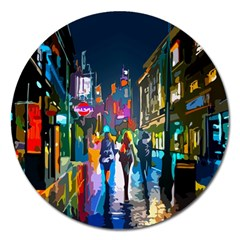 Abstract Vibrant Colour Cityscape Magnet 5  (round)