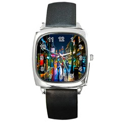 Abstract Vibrant Colour Cityscape Square Metal Watch