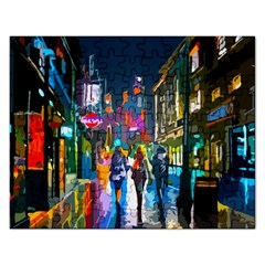 Abstract Vibrant Colour Cityscape Rectangular Jigsaw Puzzl