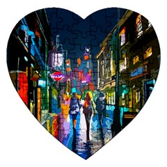 Abstract Vibrant Colour Cityscape Jigsaw Puzzle (heart)