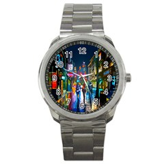 Abstract Vibrant Colour Cityscape Sport Metal Watch