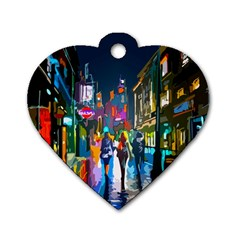 Abstract Vibrant Colour Cityscape Dog Tag Heart (two Sides)