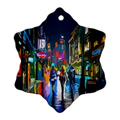 Abstract Vibrant Colour Cityscape Snowflake Ornament (two Sides)
