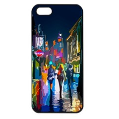 Abstract Vibrant Colour Cityscape Apple Iphone 5 Seamless Case (black)