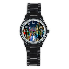 Abstract Vibrant Colour Cityscape Stainless Steel Round Watch