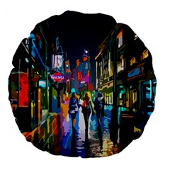 Abstract Vibrant Colour Cityscape Large 18  Premium Flano Round Cushions